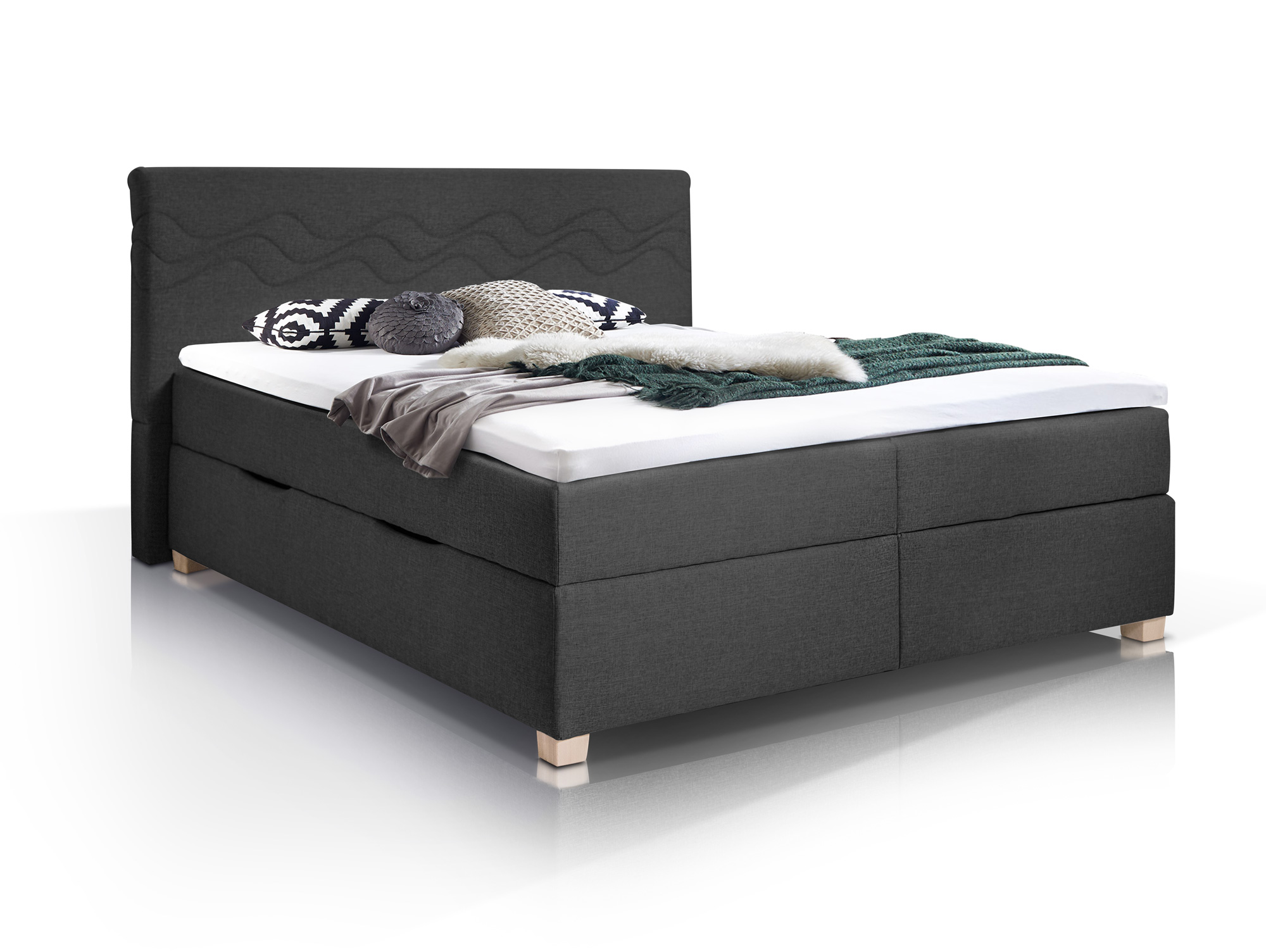wave boxspringbett mit stoffbezug inklusive bettkasten 180 x 200 cm anthrazit h rtegrad 3. Black Bedroom Furniture Sets. Home Design Ideas