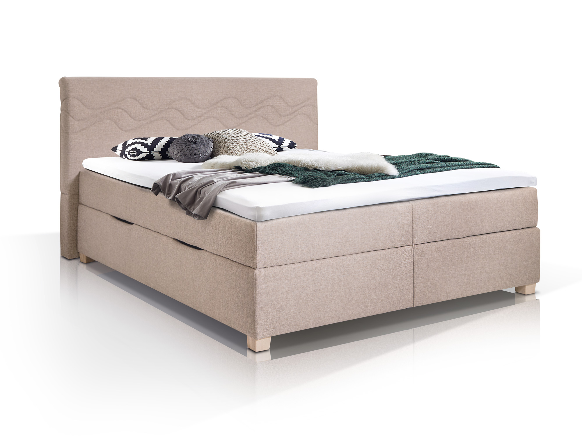 wave boxspringbett mit stoffbezug inklusive bettkasten 200 x 200 cm beige h rtegrad 3. Black Bedroom Furniture Sets. Home Design Ideas