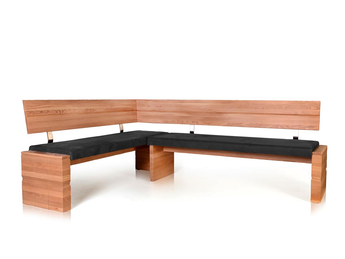 wood eckbank mit massivholzgestell 190 x 150 cm links eiche anthrazit. Black Bedroom Furniture Sets. Home Design Ideas
