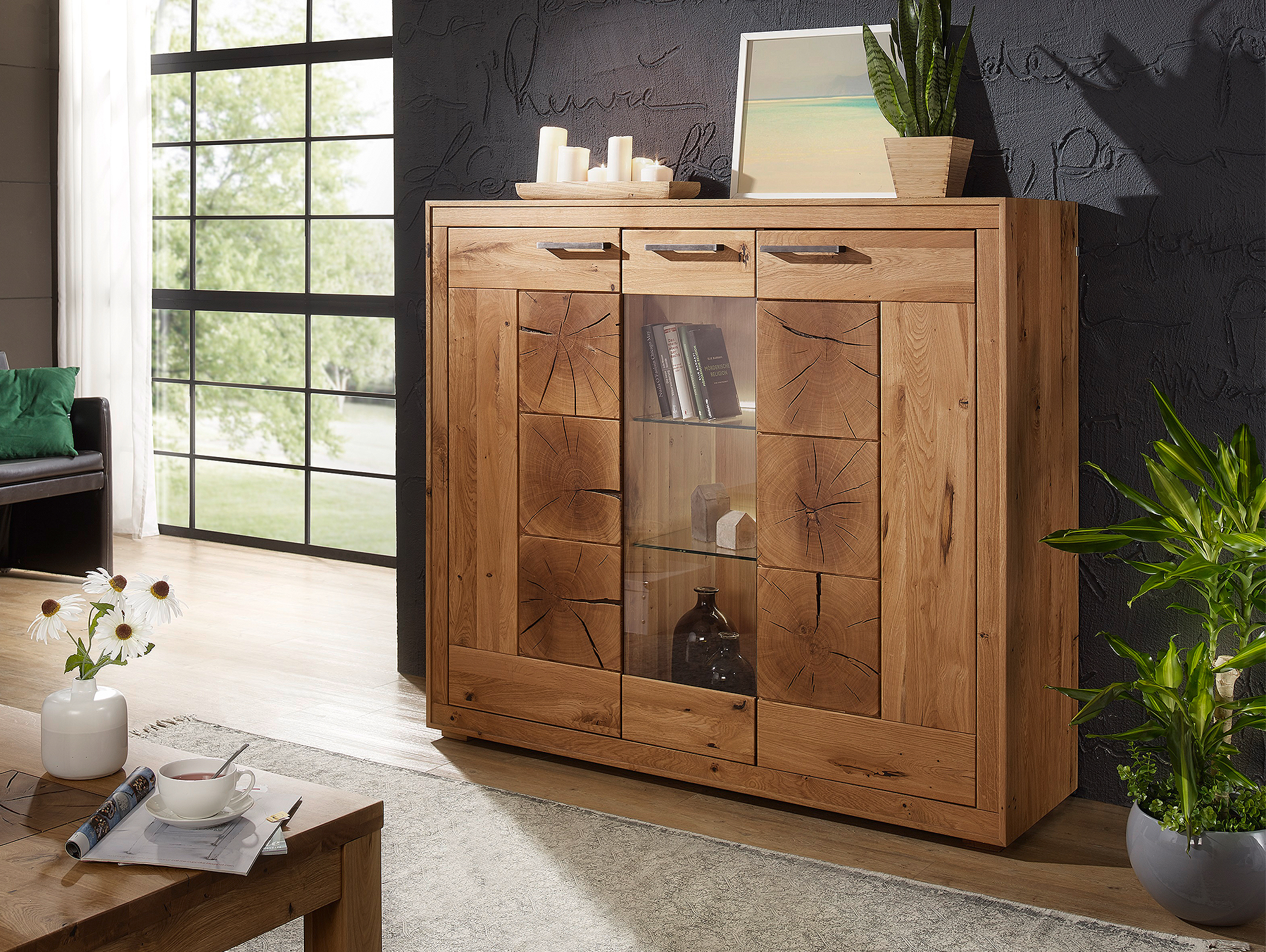 winston ii highboard wildeiche ge lt. Black Bedroom Furniture Sets. Home Design Ideas