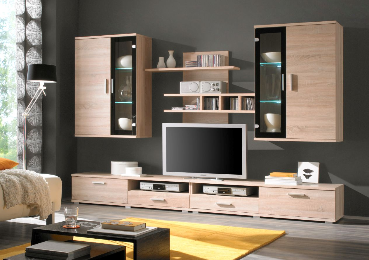 eiche sonoma vitrine g nstig kaufen. Black Bedroom Furniture Sets. Home Design Ideas