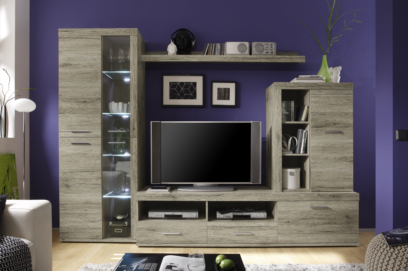 carim wohnwand san remo hell inkl beleuchtung. Black Bedroom Furniture Sets. Home Design Ideas