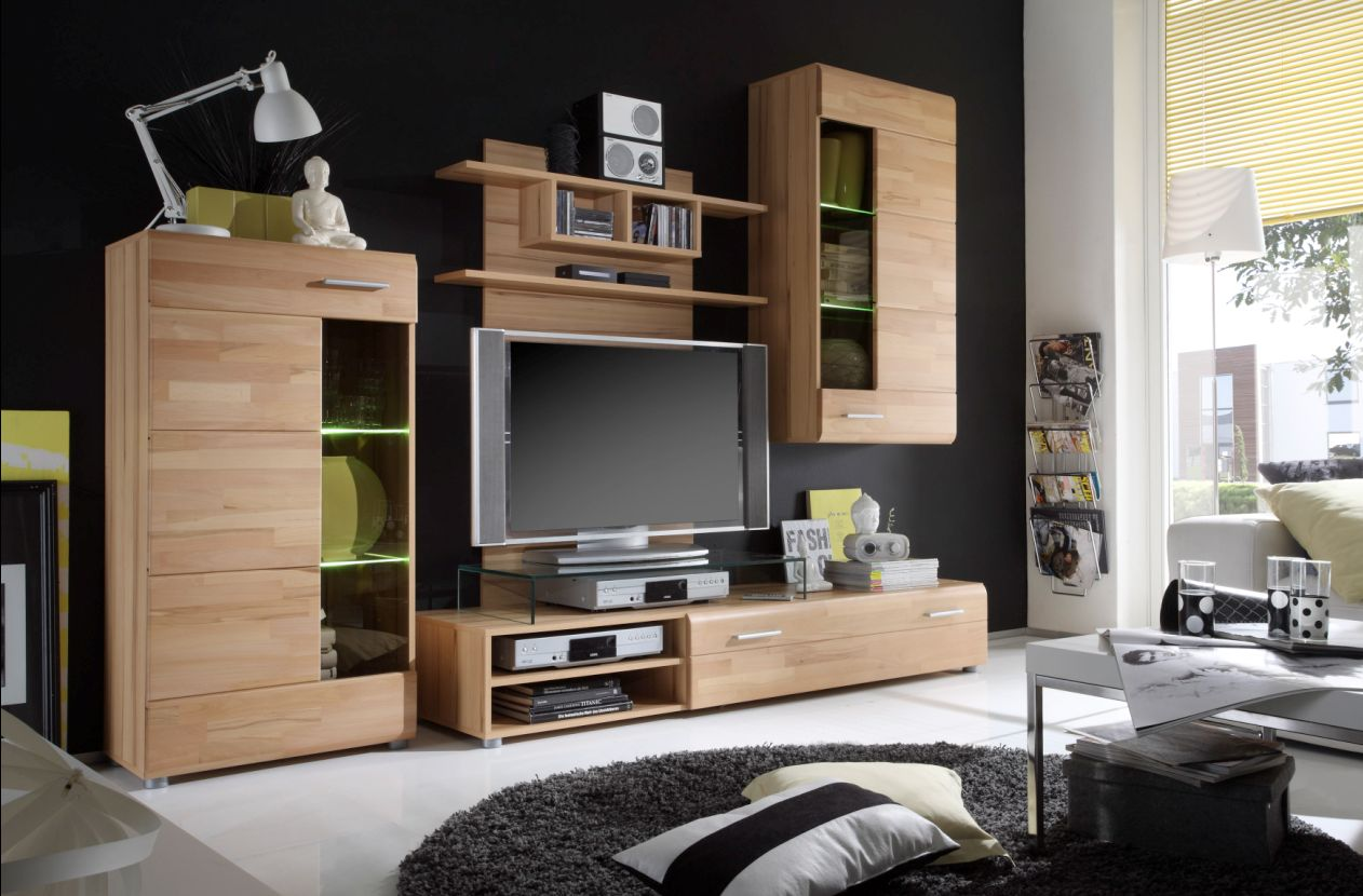 wohnwand kernbuche m bel g nstig kaufen. Black Bedroom Furniture Sets. Home Design Ideas