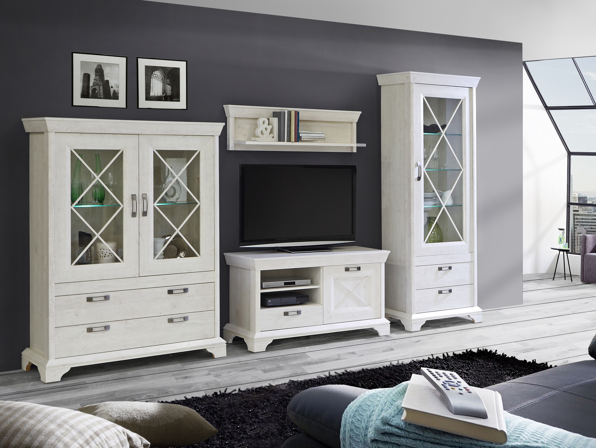 kada wohnwand pinie weiss. Black Bedroom Furniture Sets. Home Design Ideas
