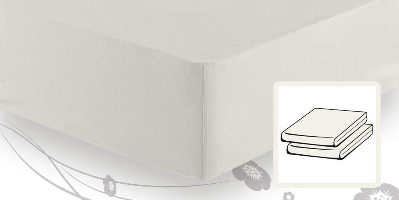 frottee stretch spannbetttuch 180x200 bis 200x200 wollweiss. Black Bedroom Furniture Sets. Home Design Ideas