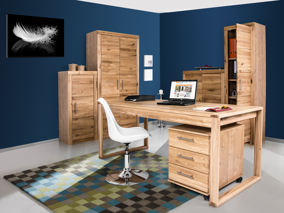office four komplett b ro teilmassiv wildeiche. Black Bedroom Furniture Sets. Home Design Ideas