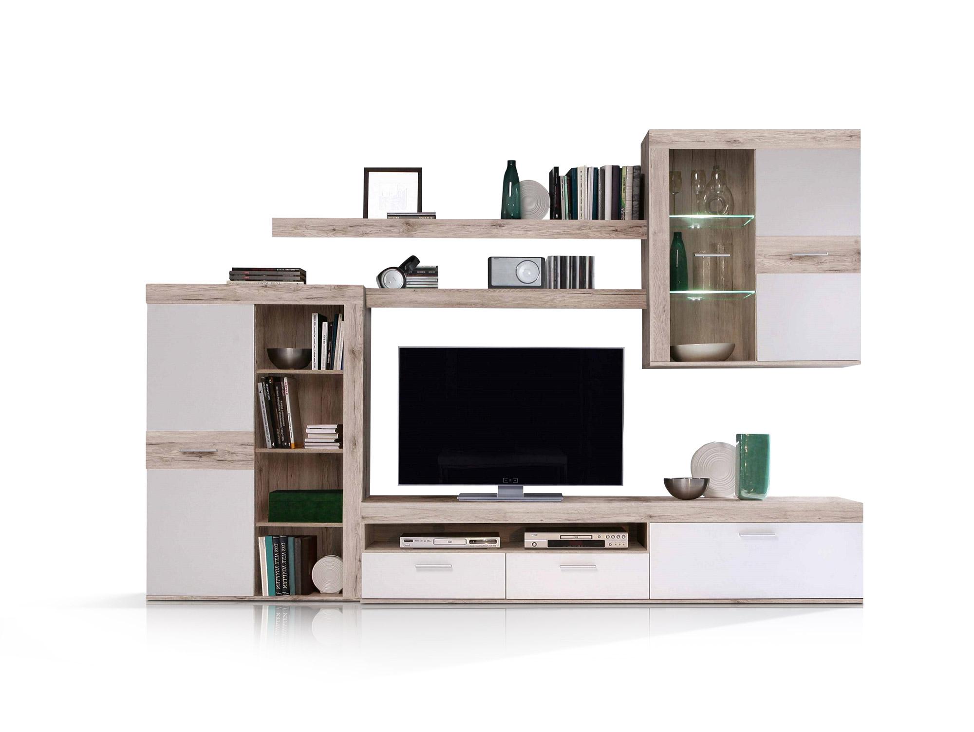 zamba wohnwand sandeiche weiss. Black Bedroom Furniture Sets. Home Design Ideas