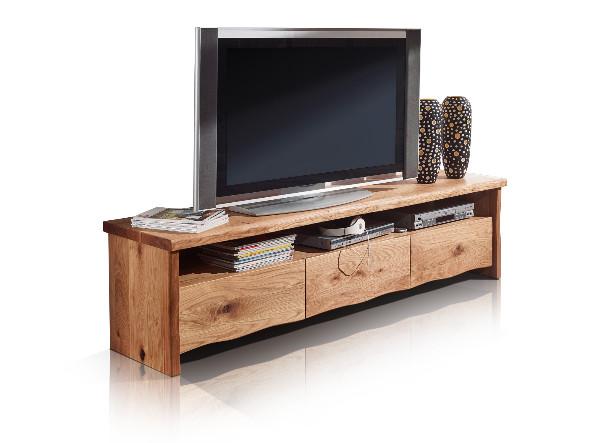 zero tv element mit 3 sch ben wildeiche ge lt. Black Bedroom Furniture Sets. Home Design Ideas