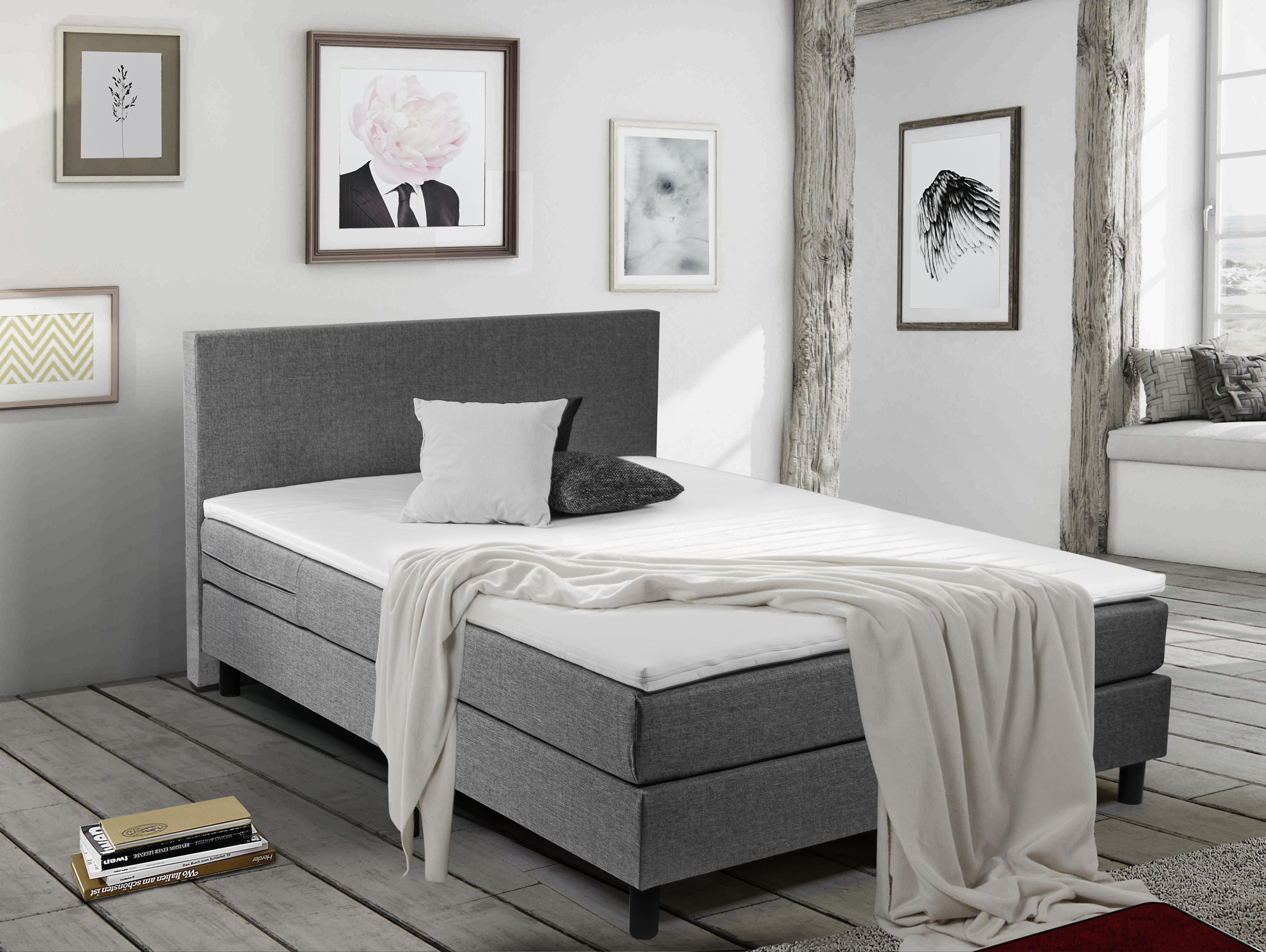 balu boxspringbett polsterbett 140 x 200 cm grau. Black Bedroom Furniture Sets. Home Design Ideas