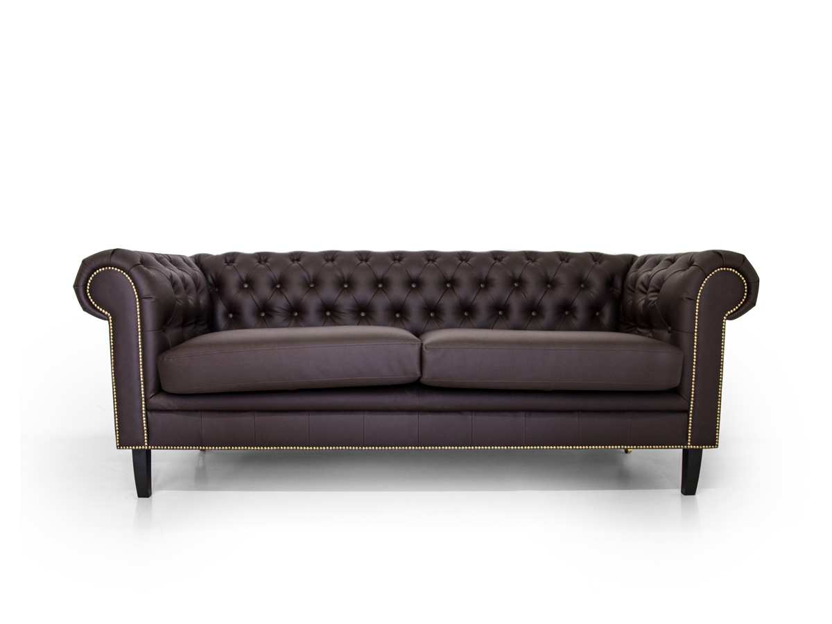 chesterfield 2 sitzer sofa santos kunstleder braun. Black Bedroom Furniture Sets. Home Design Ideas