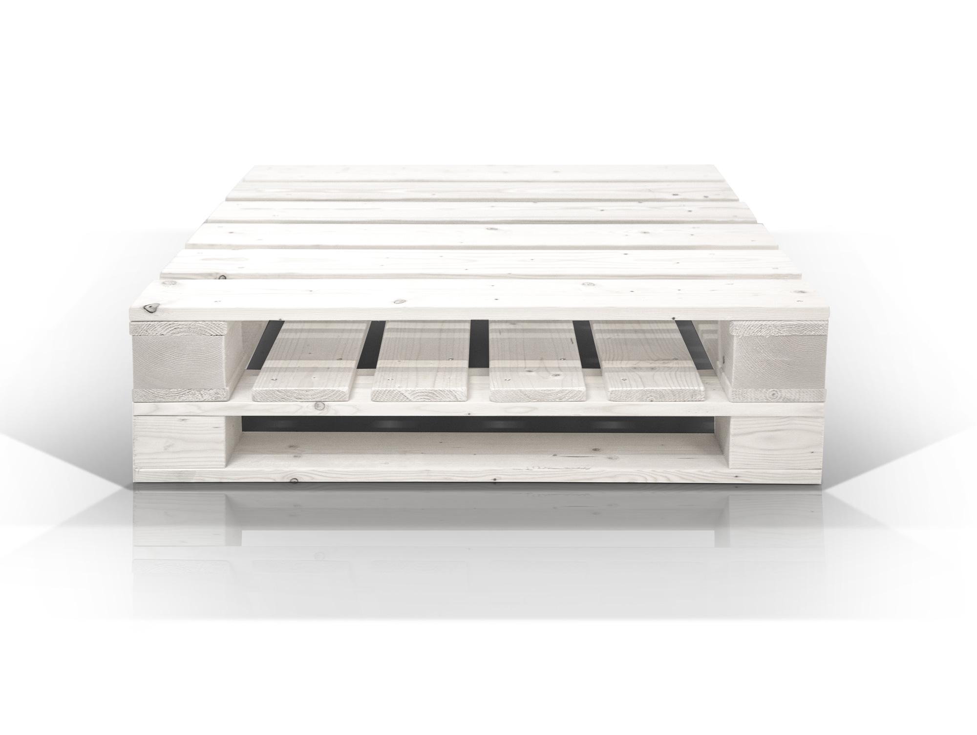 paletti couchtisch ii aus paletten 90x90 cm weiss lackiert. Black Bedroom Furniture Sets. Home Design Ideas