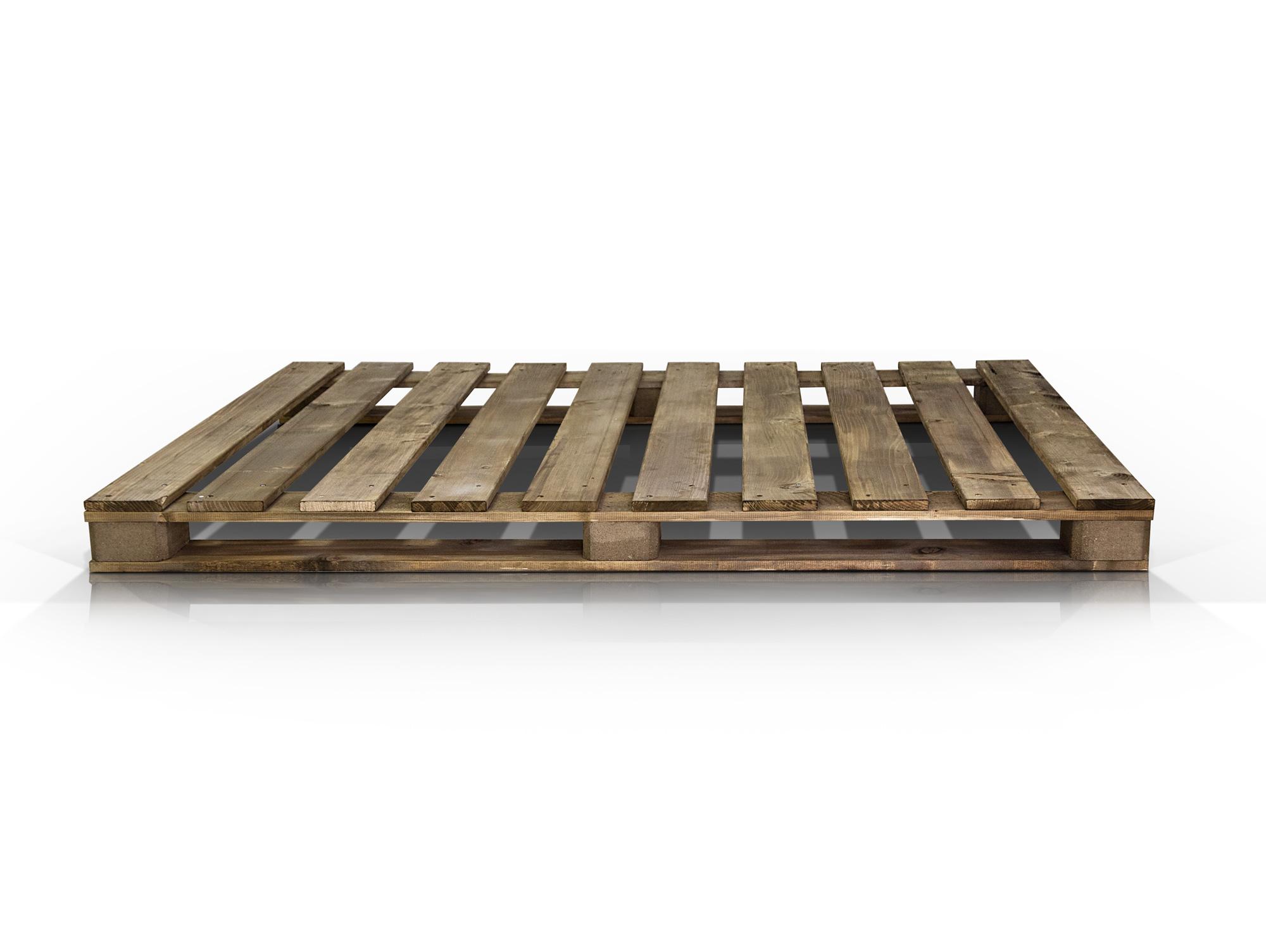 Paletti massivholzbett aus paletten rustikal gebeizt 120 x 200 cm