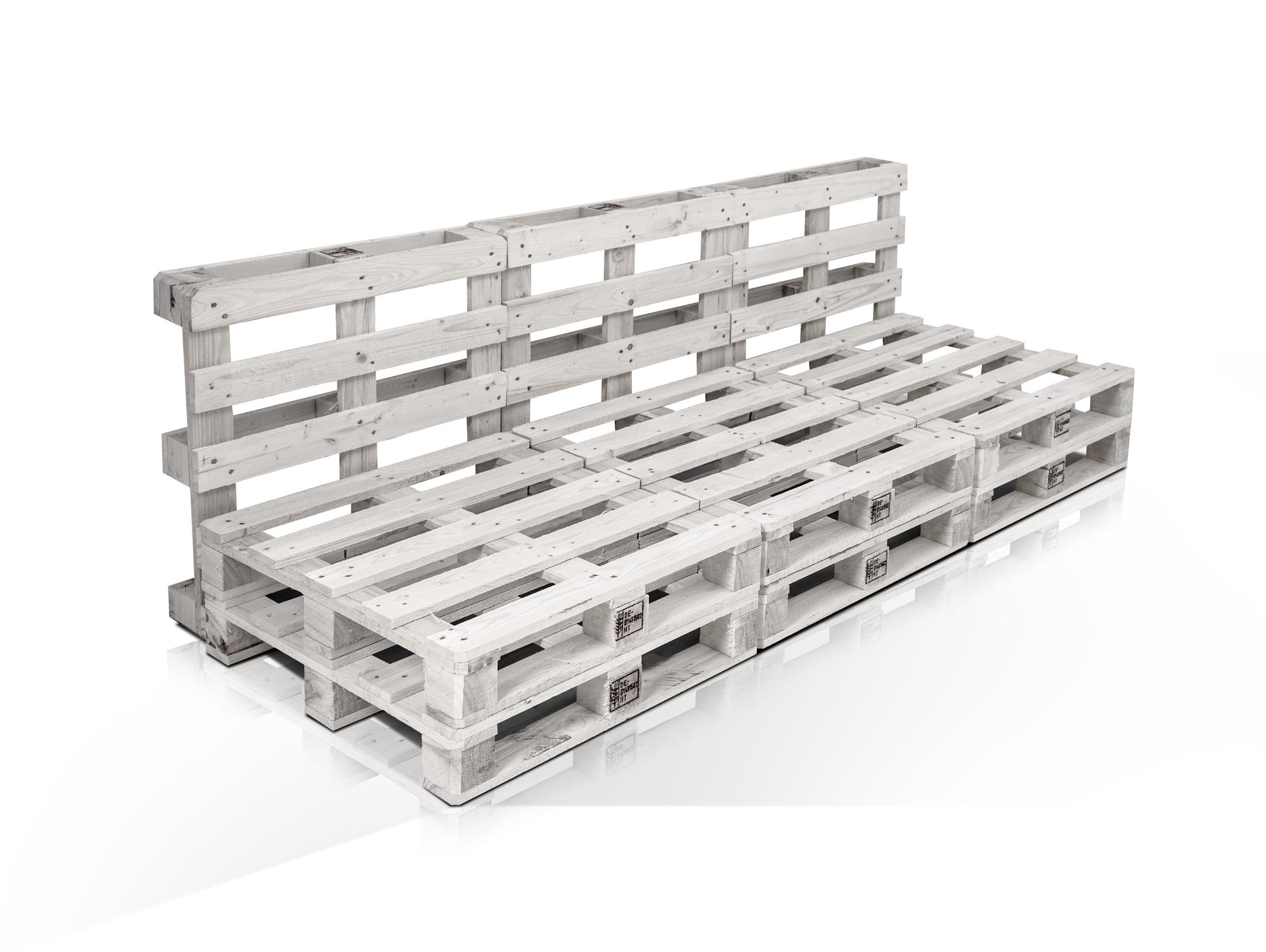 paletti 3 sitzer sofa aus paletten kiefer weiss lackiert. Black Bedroom Furniture Sets. Home Design Ideas
