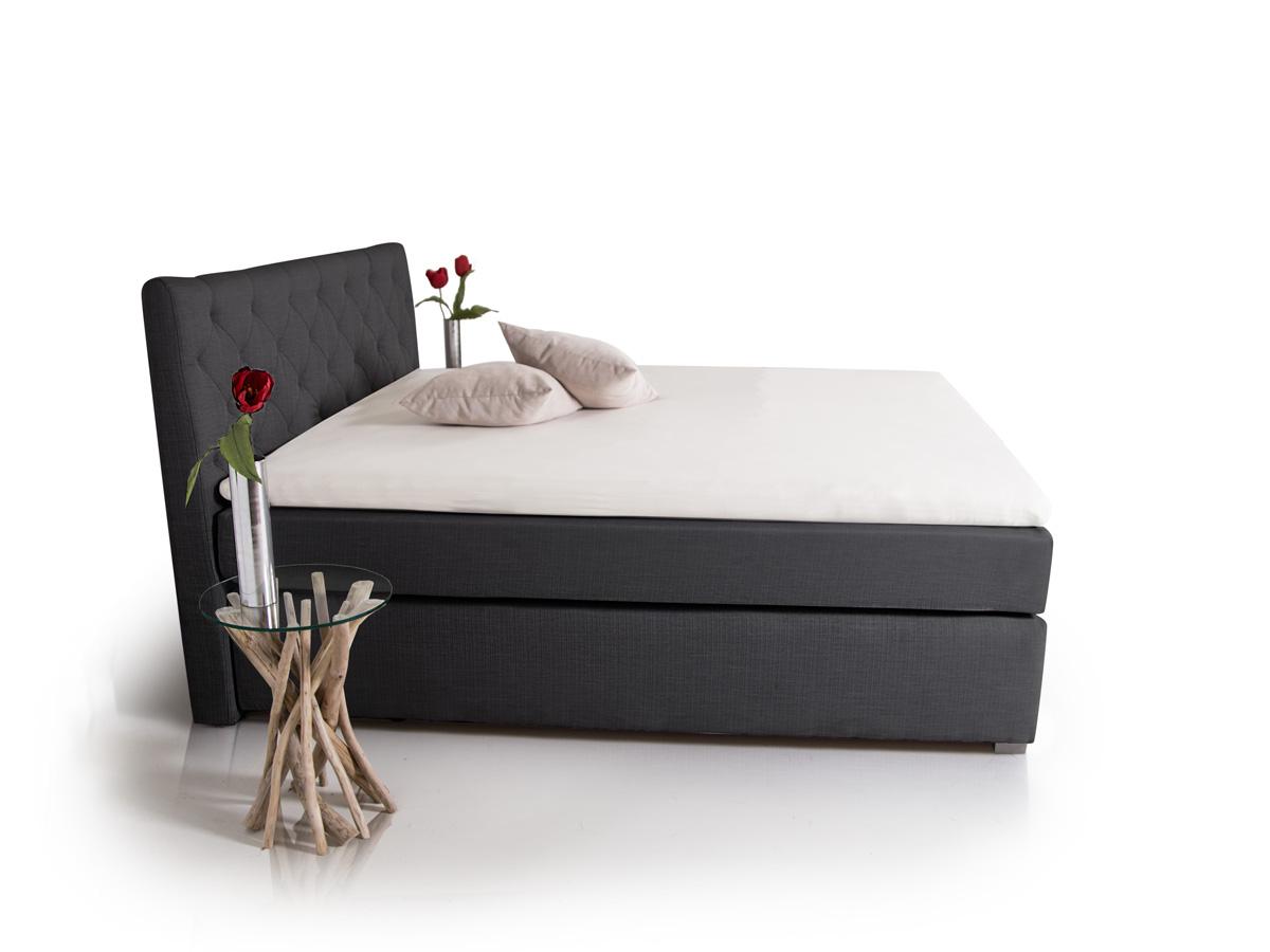 premium boxspringbett inkl kopfteil 90 x 200 cm anthrazit h rtegrad 2. Black Bedroom Furniture Sets. Home Design Ideas