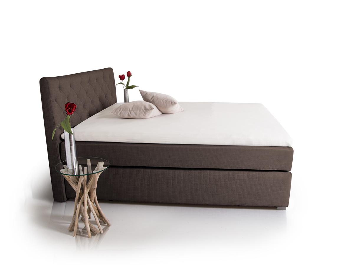 premium boxspringbett inkl kopfteil 200 x 200 cm braun h rtegrad 2. Black Bedroom Furniture Sets. Home Design Ideas
