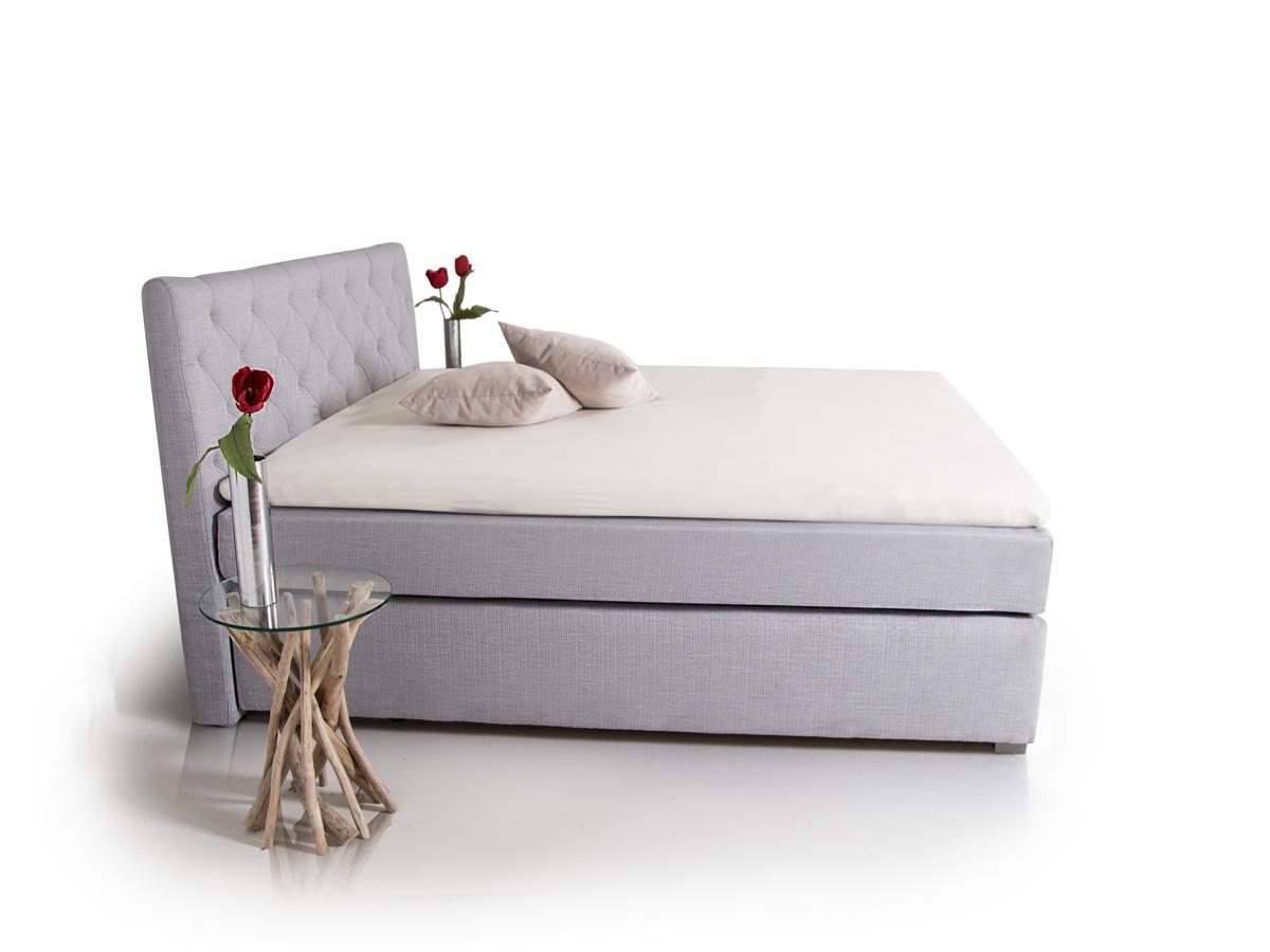 premium boxspringbett inkl kopfteil 100 x 200 cm grau. Black Bedroom Furniture Sets. Home Design Ideas