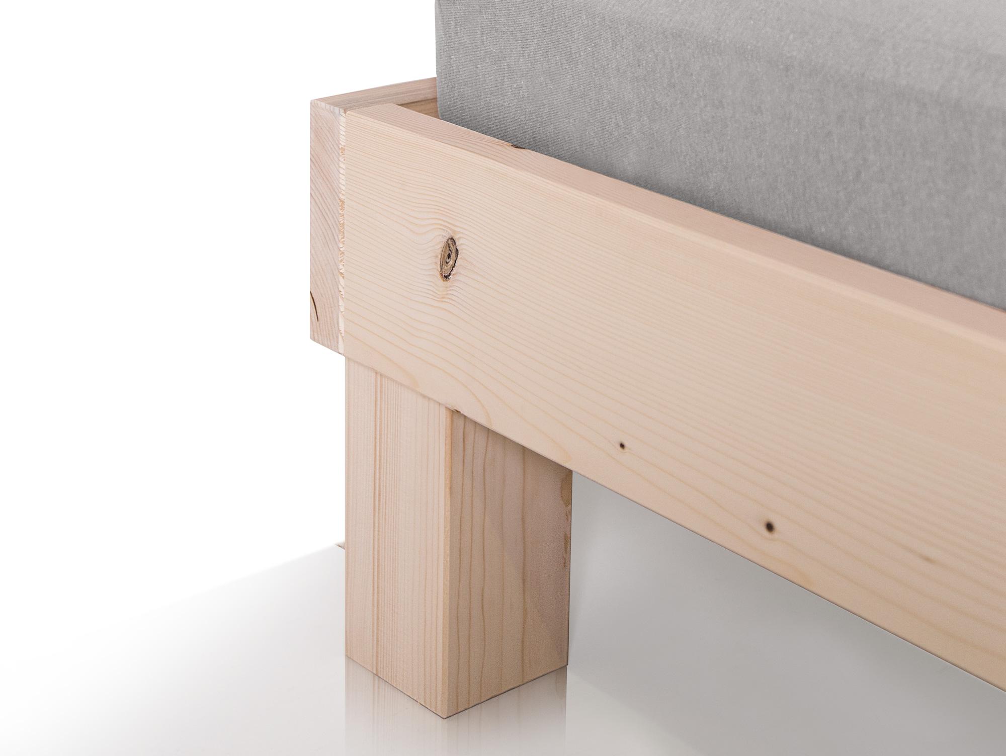PUMBA Doppelbett Futonbett 160x200 Massivholz Fichte eichefarbig ohne Kopfteil
