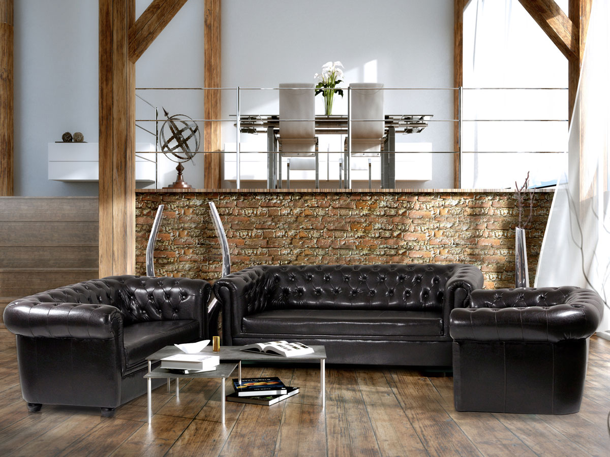 chesterfield 3 2 1 sofagarnitur antikschwarz. Black Bedroom Furniture Sets. Home Design Ideas