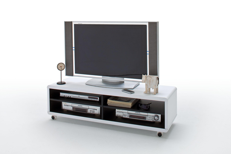 jaap 7xl tv lowboard wei innen schwarz mit rollen. Black Bedroom Furniture Sets. Home Design Ideas