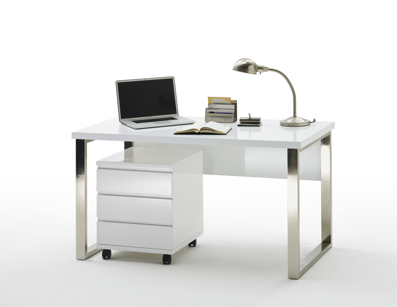 sintia schreibtisch 140x70 cm wei hochglanz lackiert. Black Bedroom Furniture Sets. Home Design Ideas