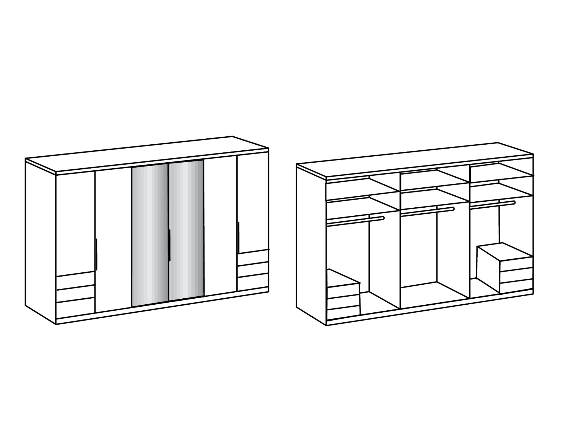 lakota dreht renschrank plankeneiche 300 cm 236 cm inkl spiegel. Black Bedroom Furniture Sets. Home Design Ideas