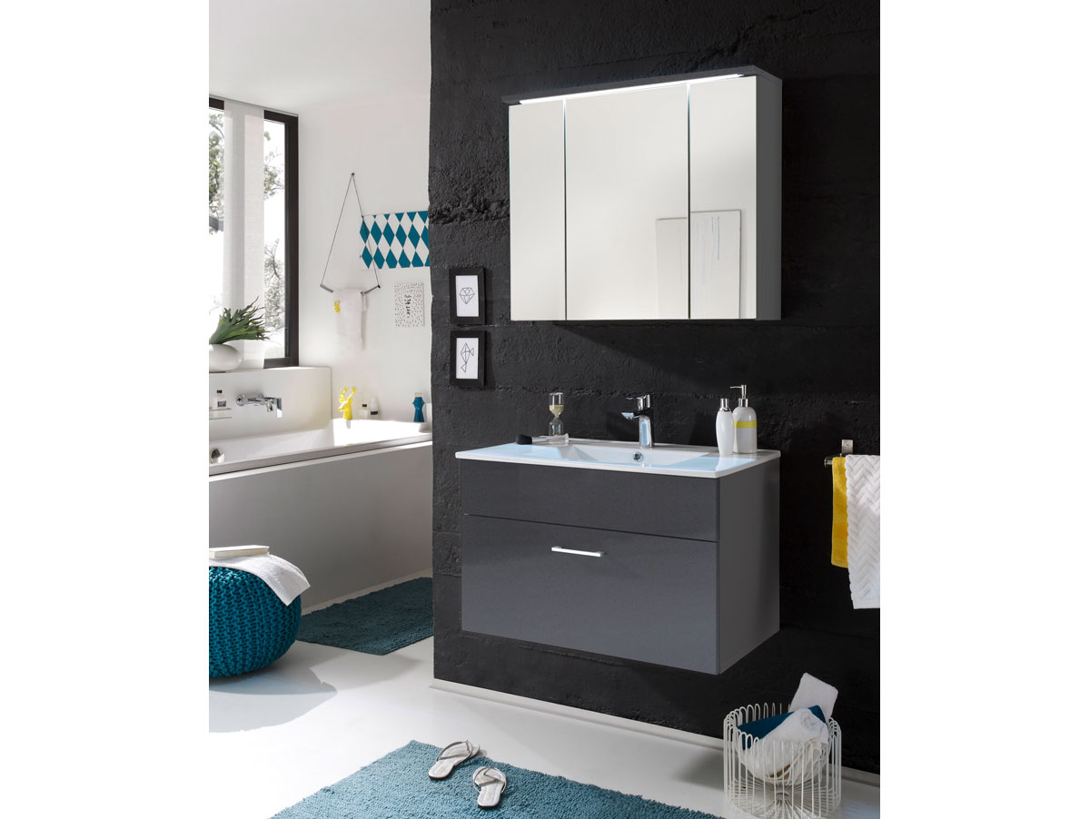 slot waschtisch inkl becken mit einer schublade grau. Black Bedroom Furniture Sets. Home Design Ideas