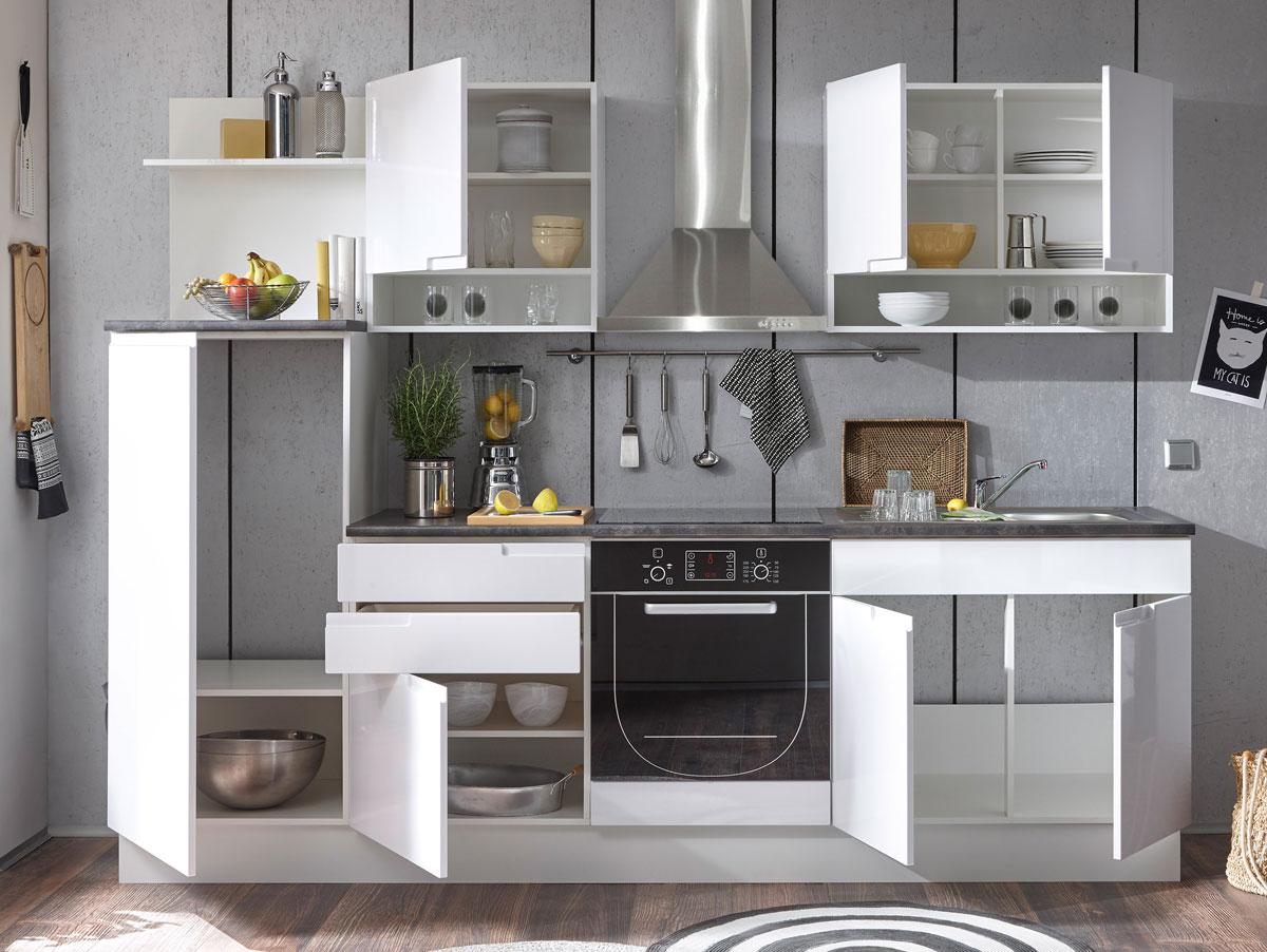 Sandra kuchenblock hochglanz weiss for Küchenblock ma e