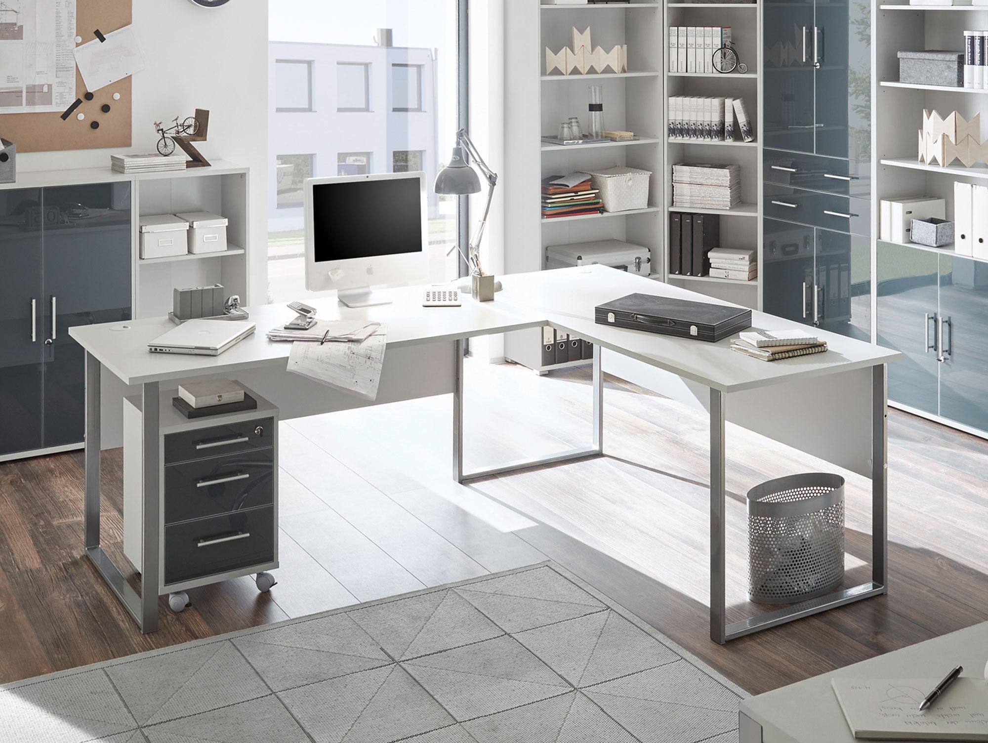 Office Deluxe Winkelkombination Material Dekorspanplatte Grau