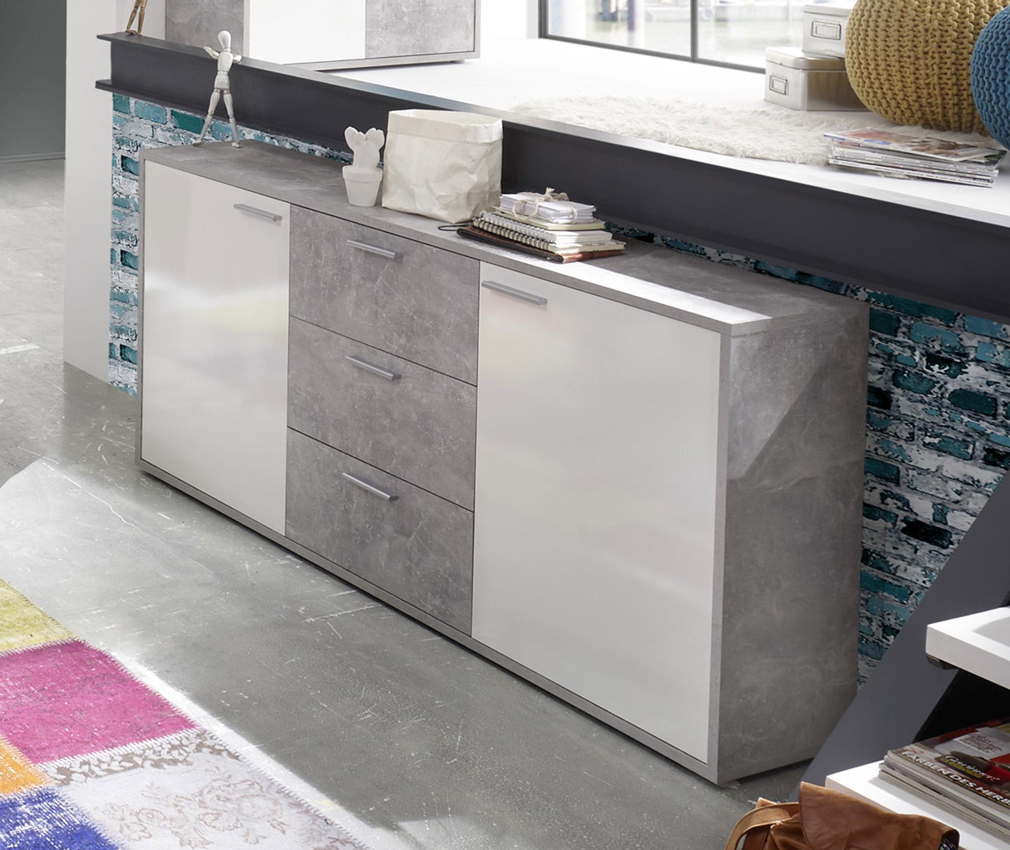maric sideboard beton wei. Black Bedroom Furniture Sets. Home Design Ideas