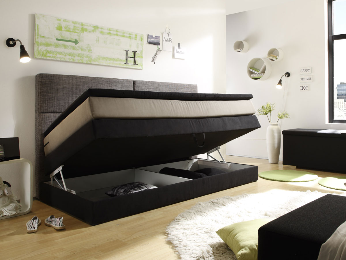 patron boxspringbett mit bettkasten 90x200 cm schwarz braun beige. Black Bedroom Furniture Sets. Home Design Ideas