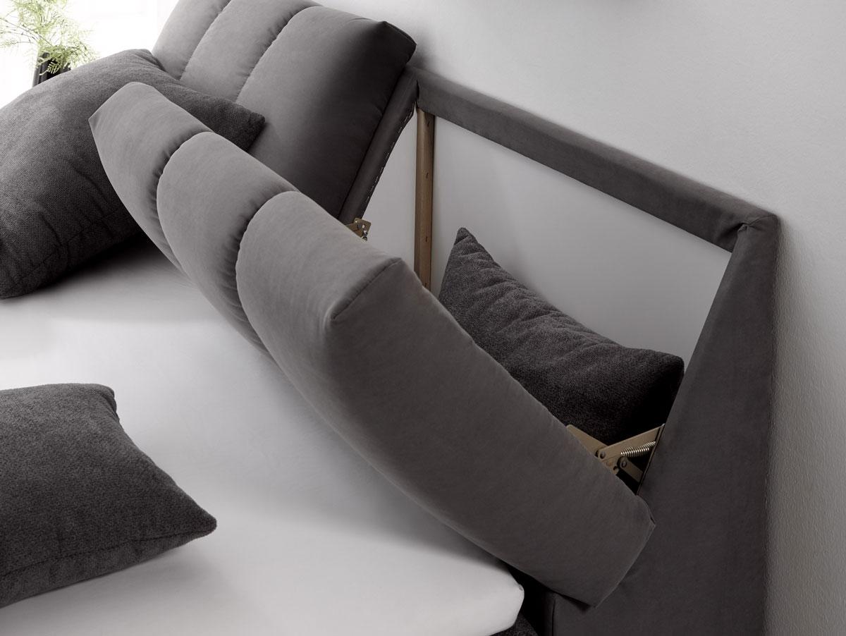 belma boxspringbett mit stauraum im kopfteil 180x200 cm grau. Black Bedroom Furniture Sets. Home Design Ideas