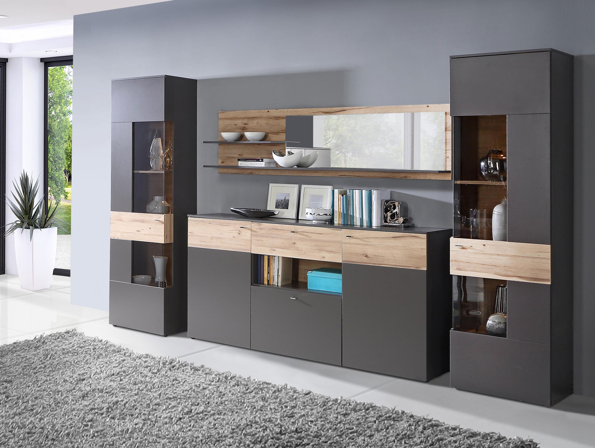 clara sideboard wolfram grau planked eiche. Black Bedroom Furniture Sets. Home Design Ideas