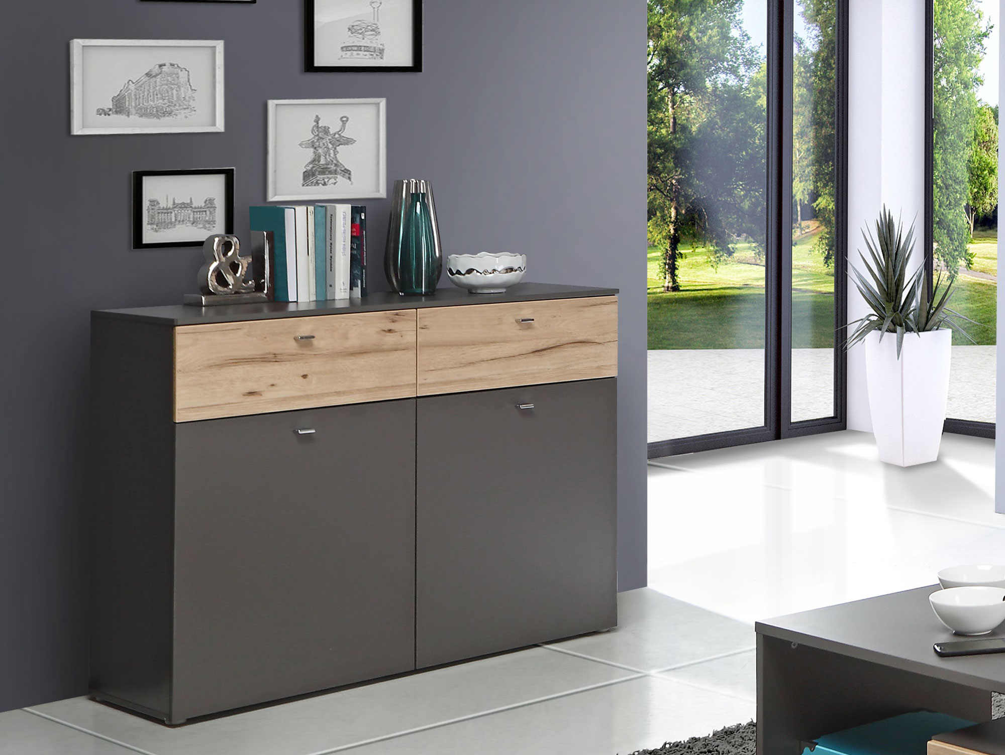 clara kommode mit 2 t ren wolfram grau planked eiche. Black Bedroom Furniture Sets. Home Design Ideas
