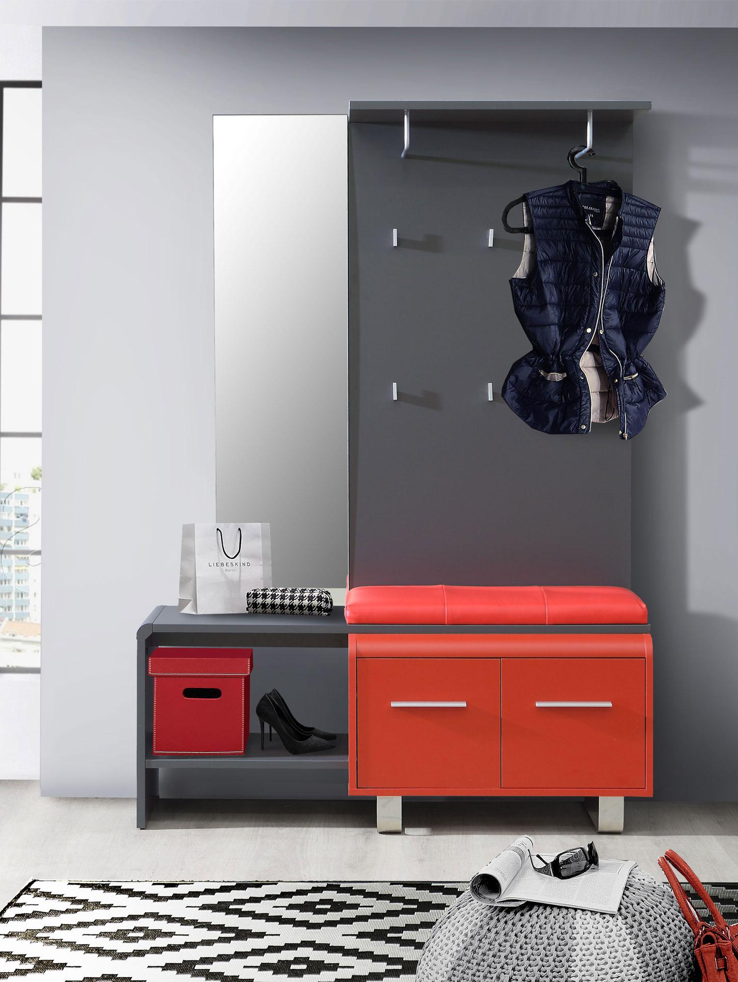 Gloria garderobe wolfram grau rot for Garderobe rot