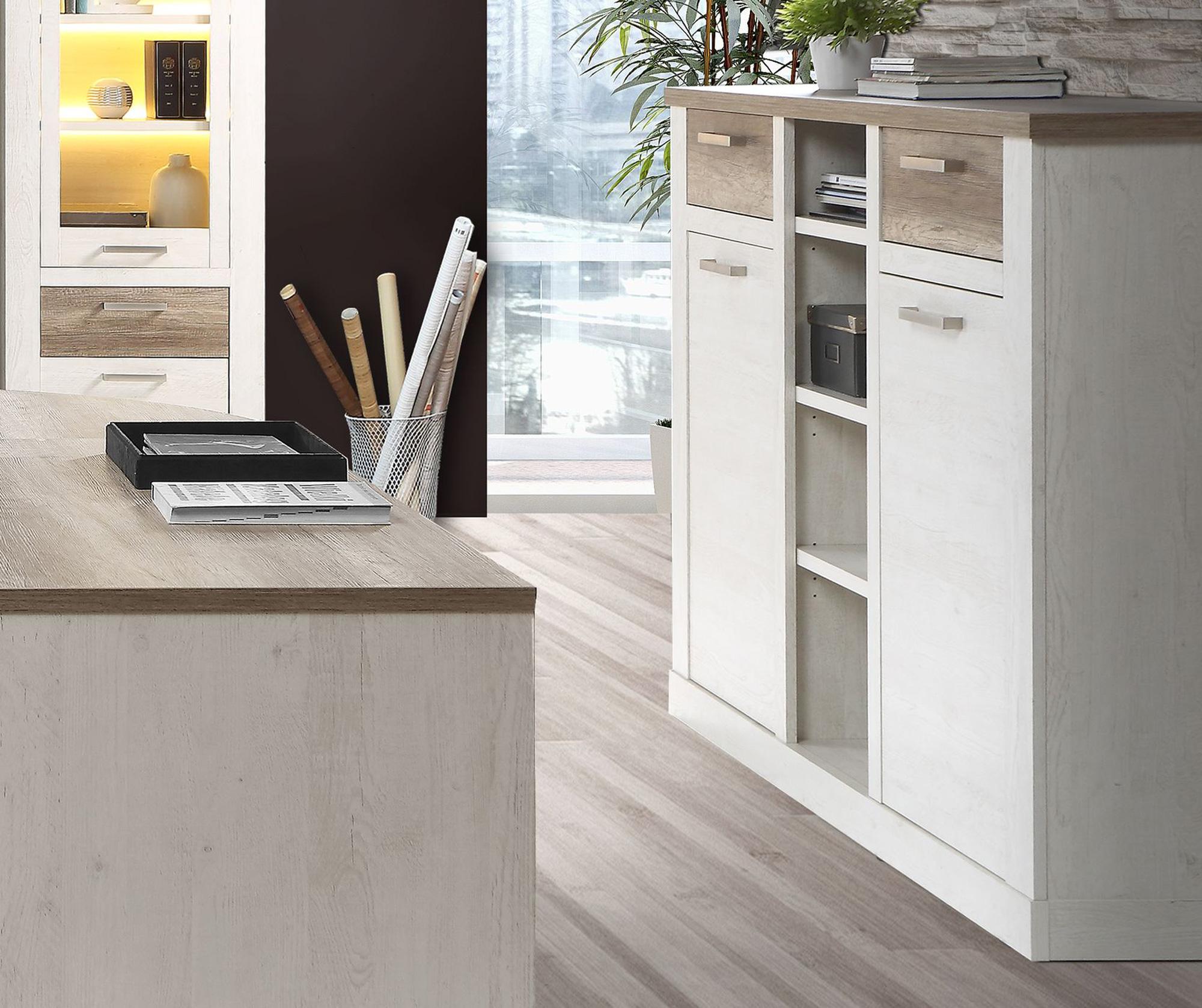 dagur highboard gro pinie wei eiche antik. Black Bedroom Furniture Sets. Home Design Ideas
