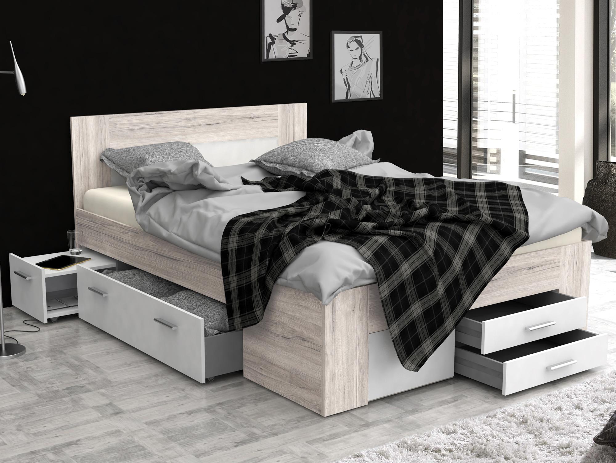 dalia funktionsbett 140x200 cm material dekorspanplatte sandeichefarbig weiss. Black Bedroom Furniture Sets. Home Design Ideas