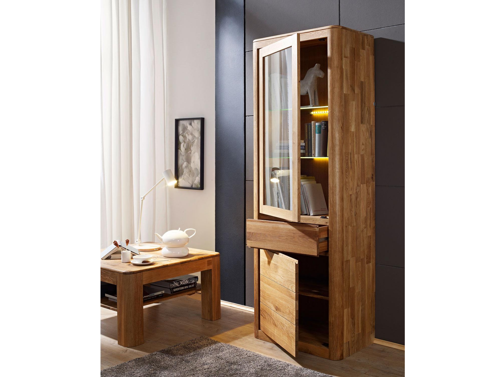 astoria vitrine schmal wildeiche. Black Bedroom Furniture Sets. Home Design Ideas