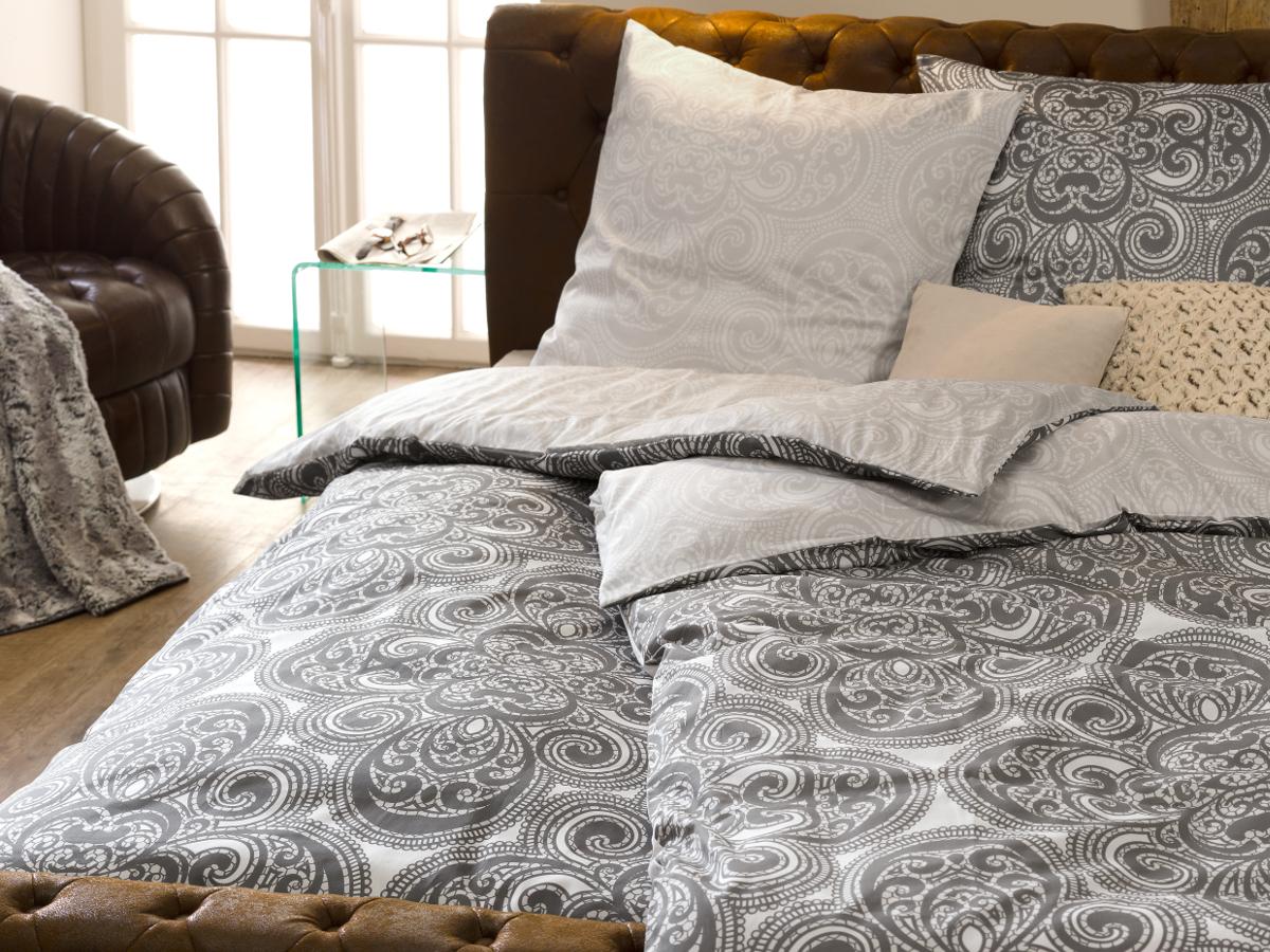 s oliver mako satinbettw sche 135x200 80x80 weiss grau. Black Bedroom Furniture Sets. Home Design Ideas