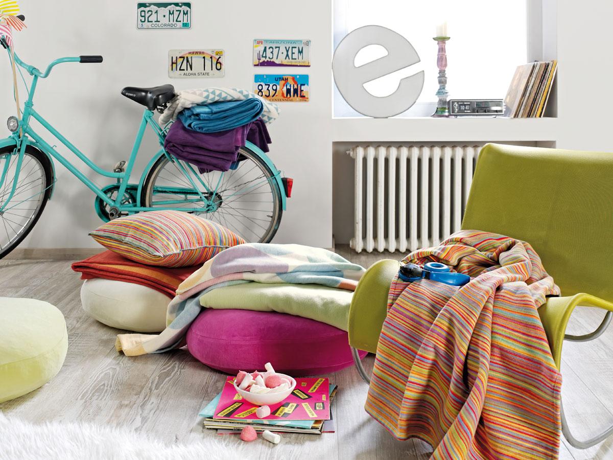 jacquard decke 140x200 cm 100 bio baumwolle streifen bunt. Black Bedroom Furniture Sets. Home Design Ideas