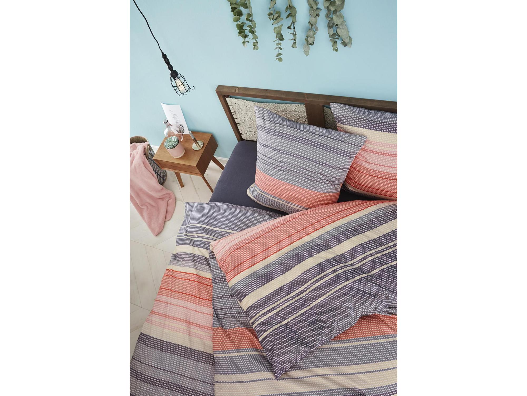 s oliver mako satin bettw sche 135x200 80x80 cm rot blau. Black Bedroom Furniture Sets. Home Design Ideas