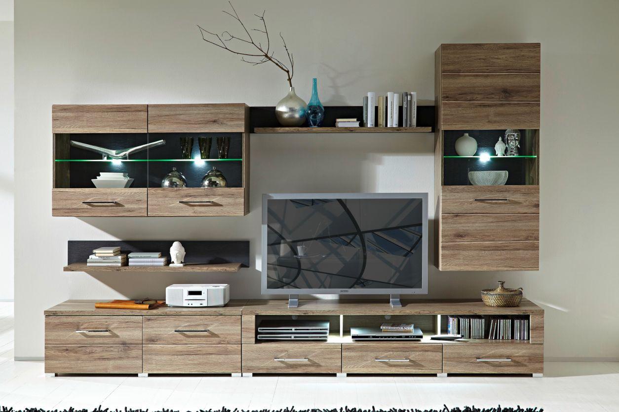 diego i wohnwand san remo eiche schiefer. Black Bedroom Furniture Sets. Home Design Ideas