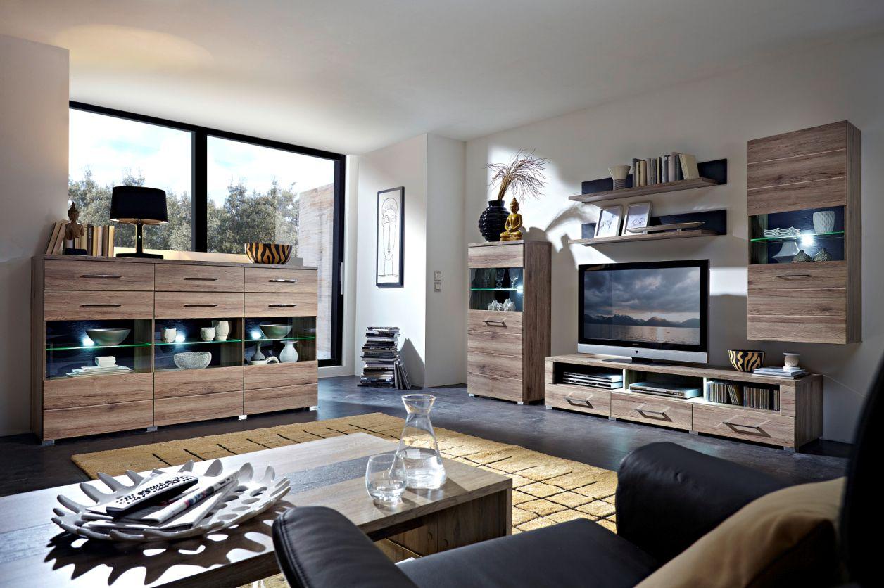 diego wohnwand iii san remo eiche schiefer. Black Bedroom Furniture Sets. Home Design Ideas