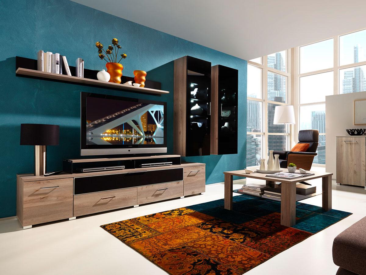 Black iii wohnwand silbereiche schwarzglas for Wohnwand fun plus