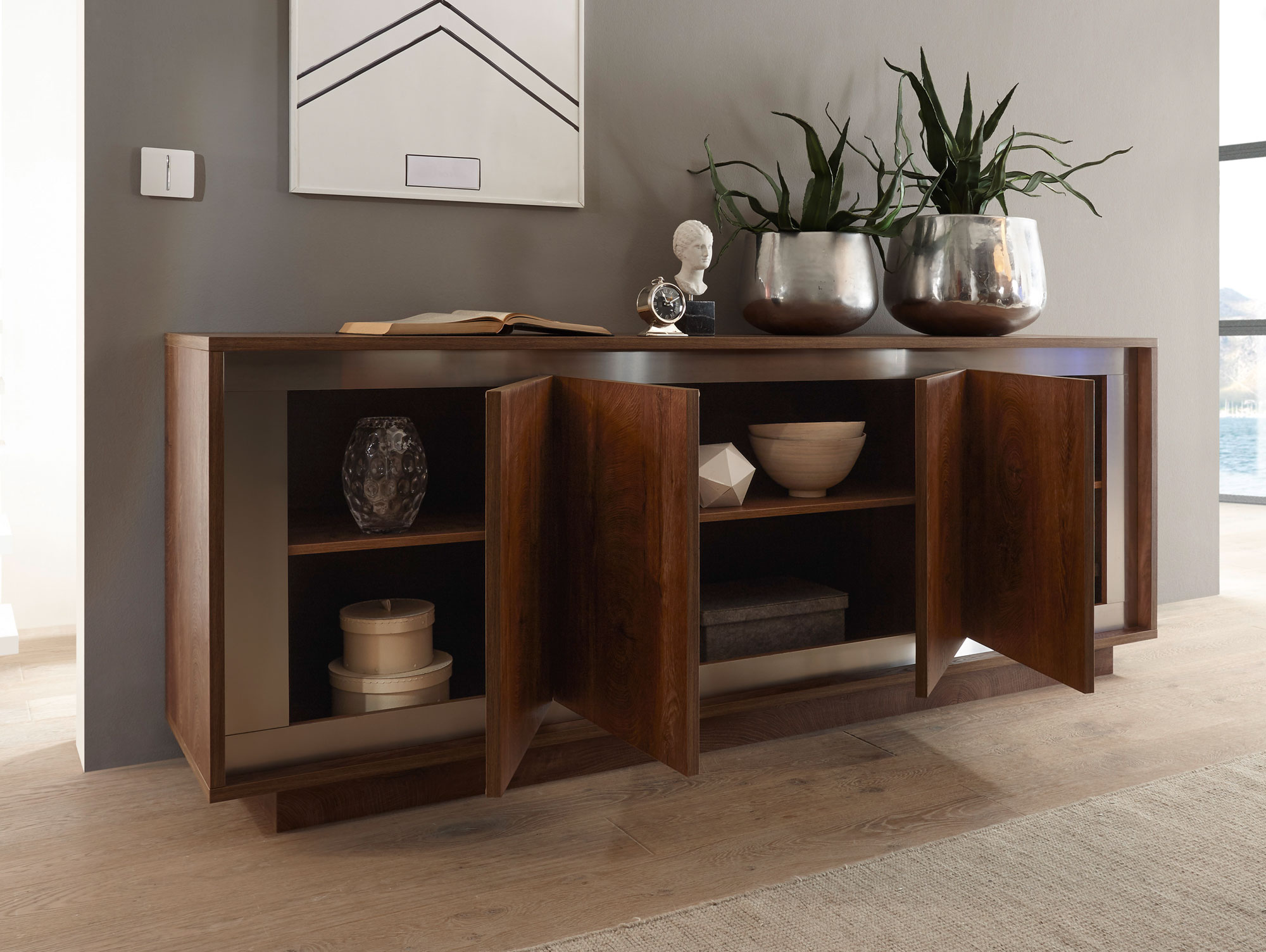 santafee sideboard mit 4 t ren eiche cognac. Black Bedroom Furniture Sets. Home Design Ideas