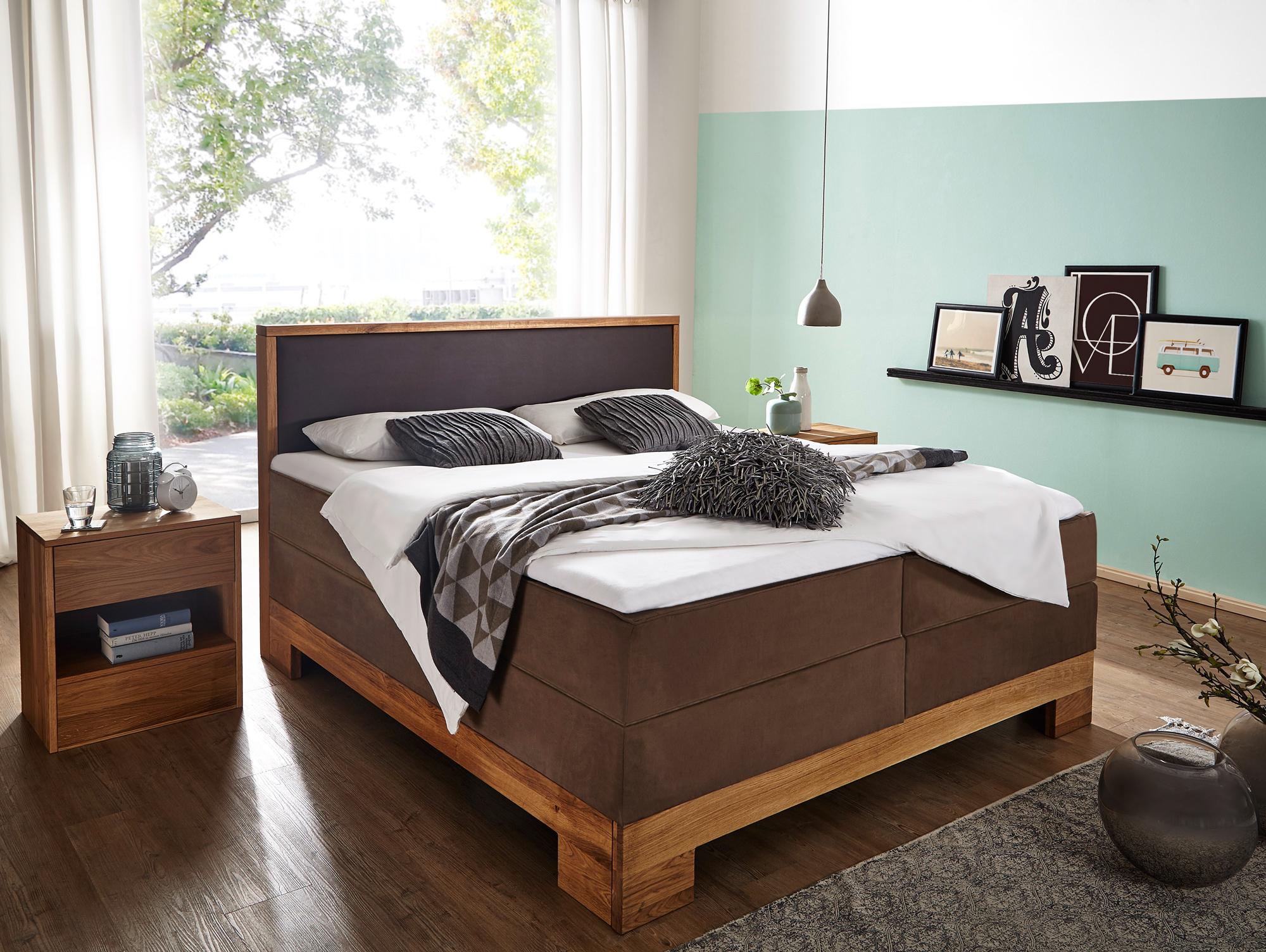 alina boxspringbett eiche braun 180 x 200 cm. Black Bedroom Furniture Sets. Home Design Ideas