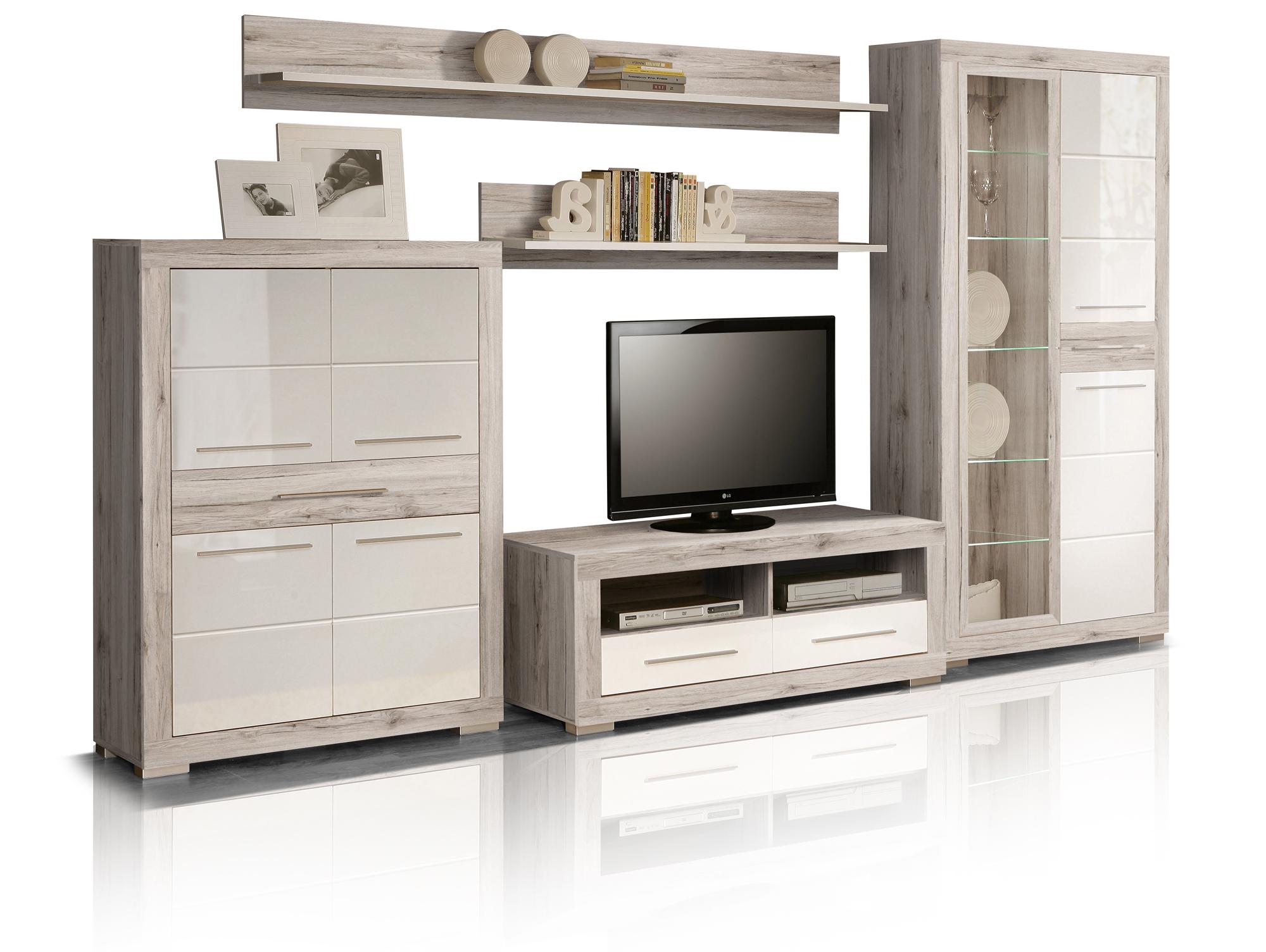 amberg i wohnwand sandeiche wei hochglanz. Black Bedroom Furniture Sets. Home Design Ideas