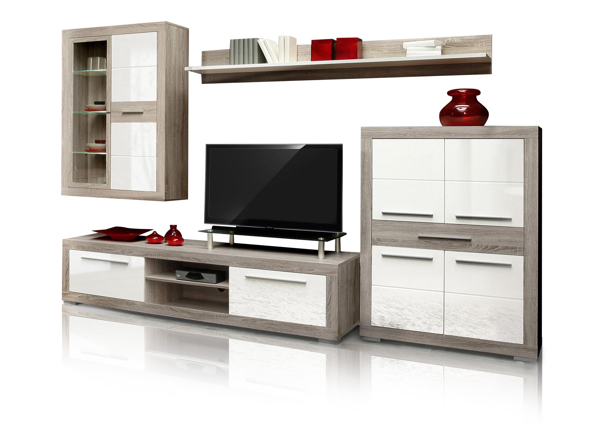 amberg ii wohnwand eiche sonoma grau wei hg. Black Bedroom Furniture Sets. Home Design Ideas
