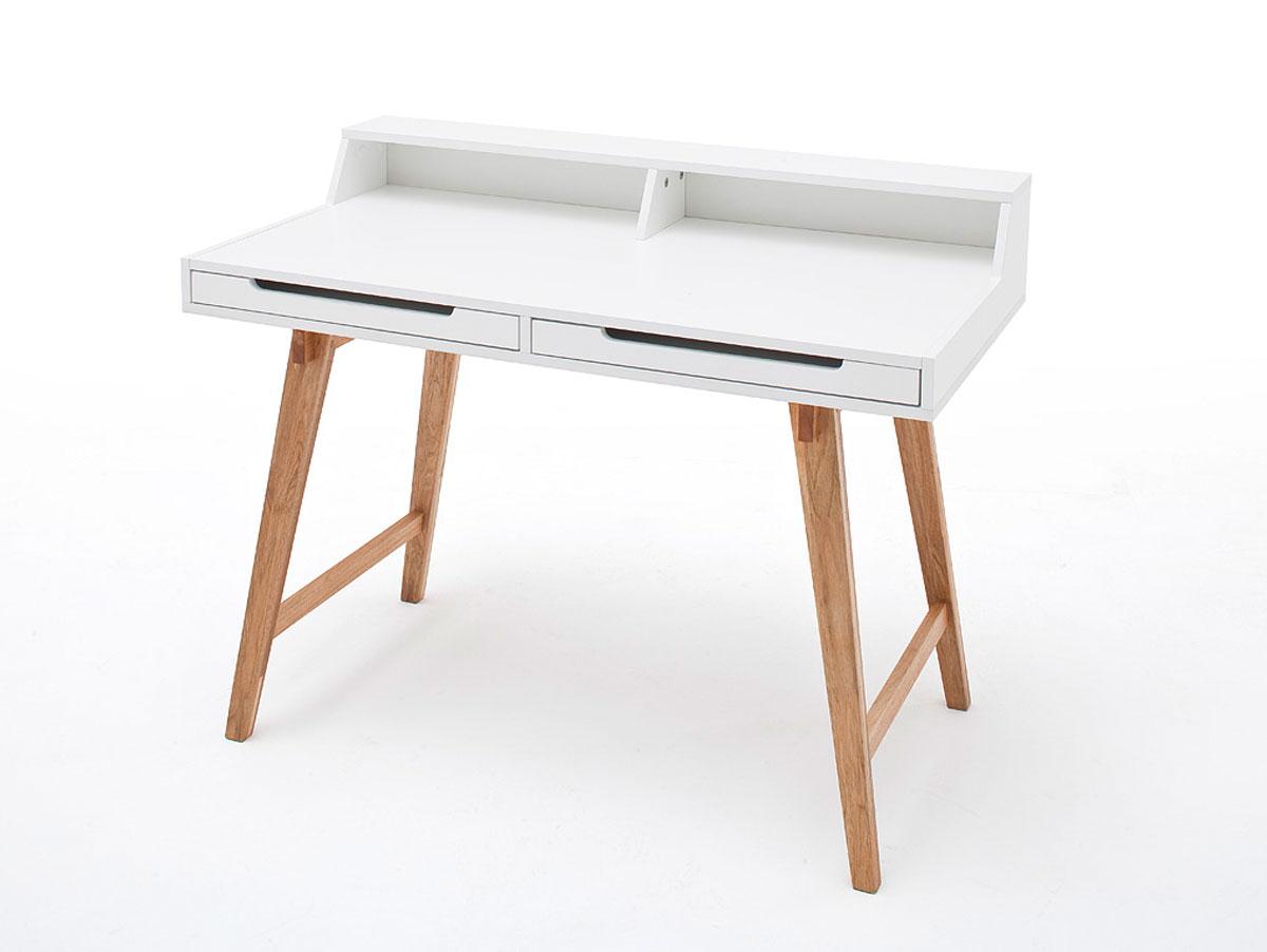 tamy schreibtisch matt wei lack beine buchefarbig. Black Bedroom Furniture Sets. Home Design Ideas