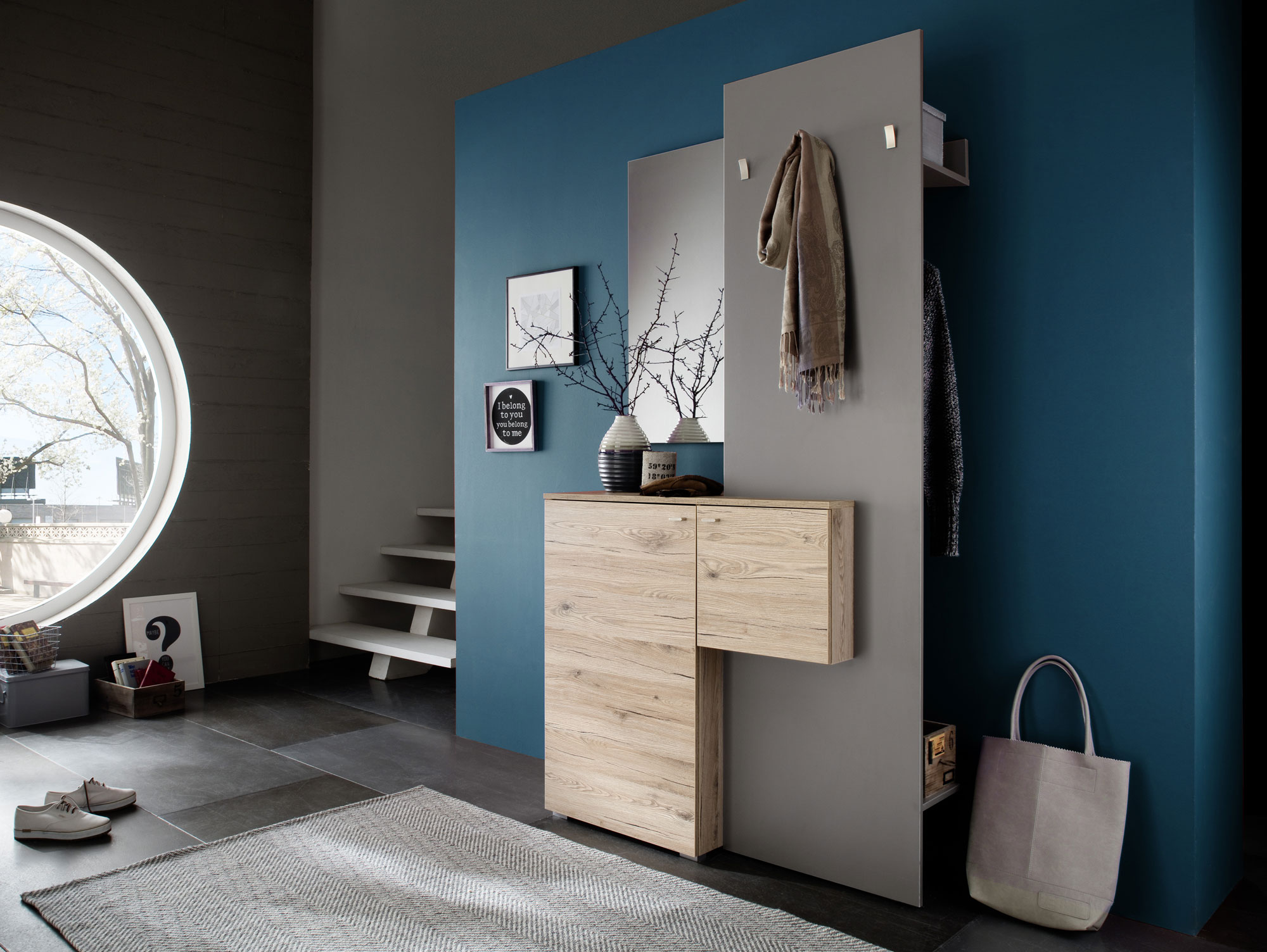 zarah komplett garderobe eiche sand steingrau. Black Bedroom Furniture Sets. Home Design Ideas