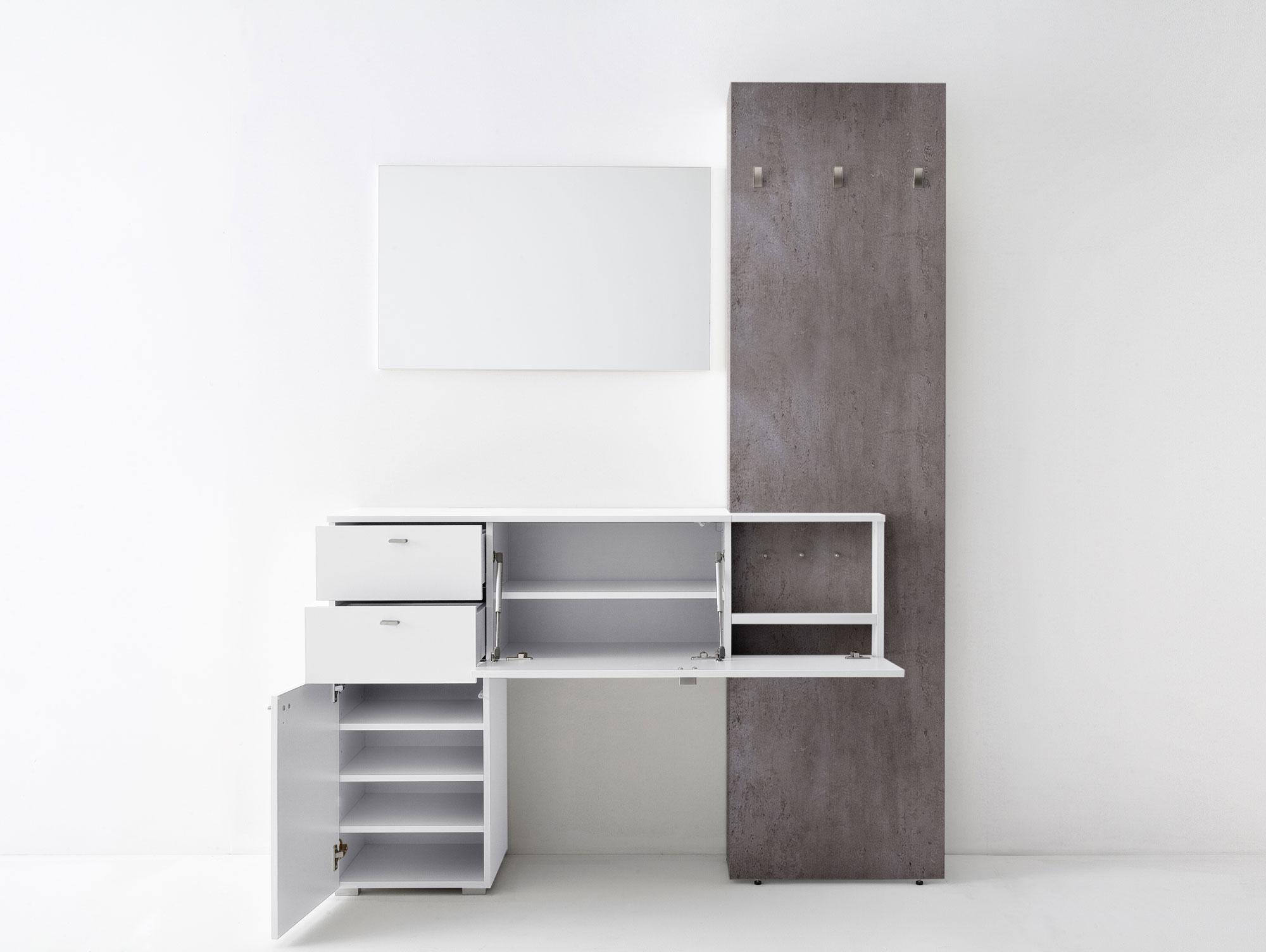 Zarah ii garderobenkombi wei beton for Garderobe komplett programme